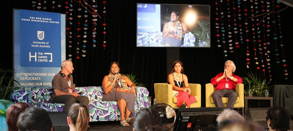 Womadelaide Indira Naidoo adresses the audience in Planet Talks