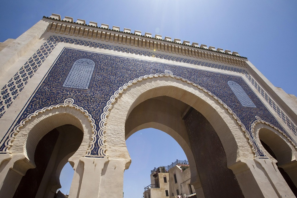 Blue gate in Fes Morocco