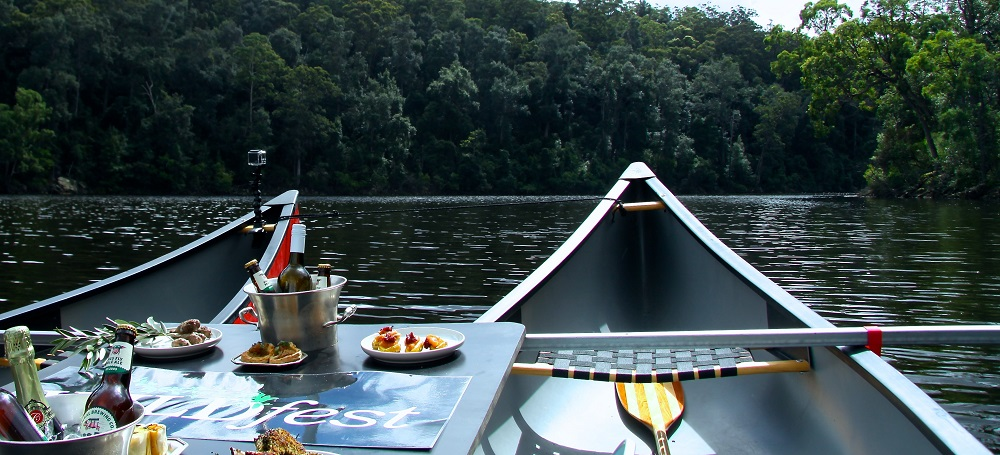 WILDfest Wild Canoe Experience in Custom-Crafted Double-Rig Canoes with Forest Canapes and Champagne on I