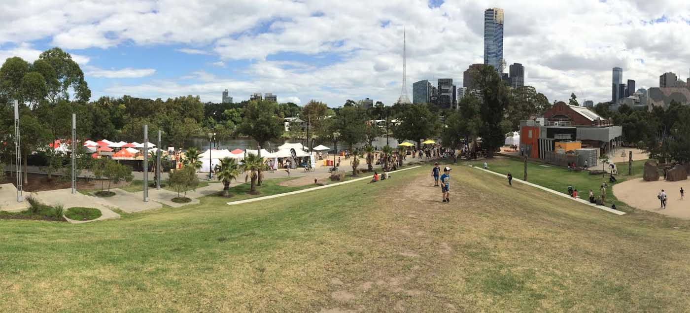 View towards Birrarung Marr from hill behind