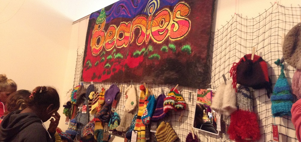 Beanies on display at Alice Springs Beanie Festival