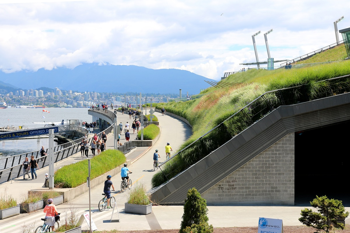 Cyclists enjoy Vancouver's living rooftops