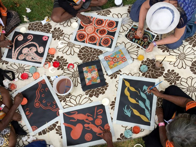 Womadelaide Indigenous artworks colour the lawns of Botanic Park